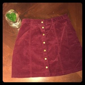 Corduroy button skirt forever21